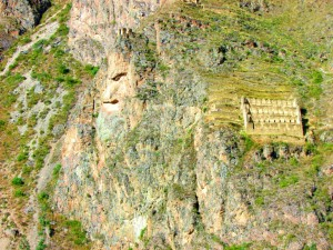 The face of god, and crop house at Ollantaytambo Fortress.